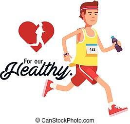 cuore, sano, immagine, jogging, vettore, fondo, nostro, rosso, uomo