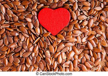 cuore, sano, lino, cibo, semi, seme lino, fondo, rosso, diet.