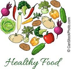 cuore, sano, manifesto, verdura, cibo, vettore
