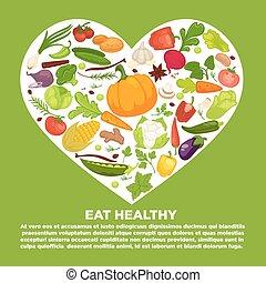 cuore, sano, manifesto, verdura, commerciale, mangiare, grande, dentro