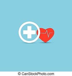 cuore, sano, medico, impulso, vettore, concept., rosso