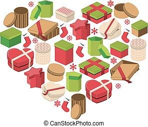 cuore, scatole, fatto, regalo natale