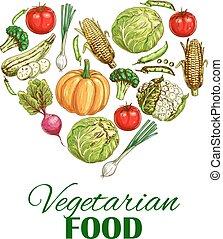 cuore, schizzo, cibo, manifesto, verdura, vegetariano