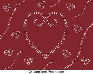 cuore, scintilla, sfondo rosso