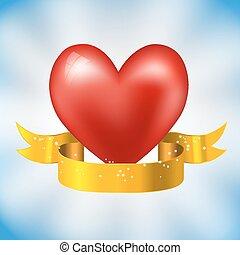 cuore, scintille, nastro, dorato
