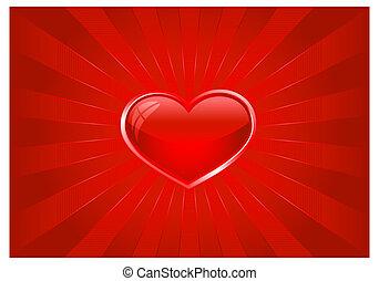 cuore, scoppio, luce rossa