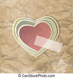Cuore scotch - Vintage background on crumpled paper with...