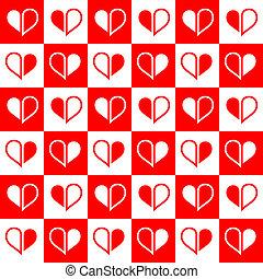 cuore, seamless, rosso, metà