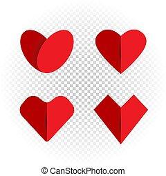 cuore, set, amore, come, carta, trasparente