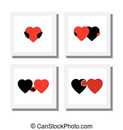 cuore, set, amore, icone, empatia, -, compassione, simboli,...