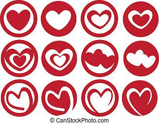 cuore, set, arte, tazza, ispirare, latte, vettore, icona