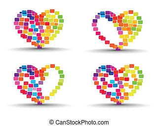 cuore, set, colorito, astratto, valentines, isolato, forme, fatto, fondo, day., elementi