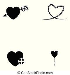 cuore, set, icona