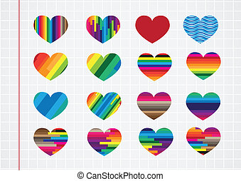 cuore, set, icone, astratto, simboli, carta quaderno, fondo, segni, lavori in corso, tuo