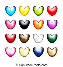 cuore, set, icone, forma, disegno, tuo
