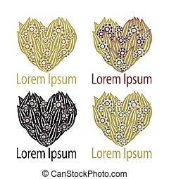 cuore, set, illustration., elemento, vettore, logotipo