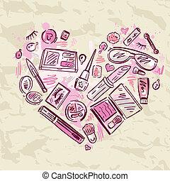 cuore, set., trucco, prodotti