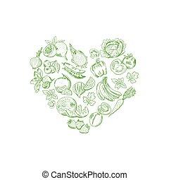cuore, set, verdura, frutte, illustrazione, forma, vettore, sketched, fresco