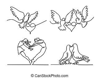 cuore, set, volare, piccioni, continuo, due, logotipo