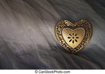 cuore, seta, metallo, fondo, dorato