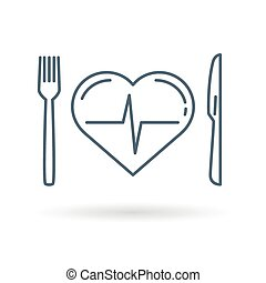 cuore, sfondo bianco, dieta, icona