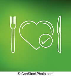 cuore, sfondo verde, dieta, icona