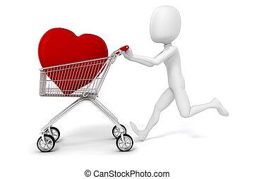 cuore, shopping, grande, carrello, uomo, rosso, 3d