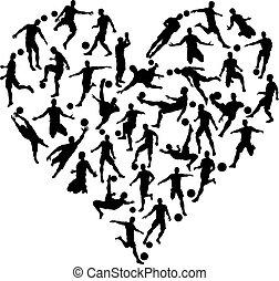 cuore, silhouette, calcio