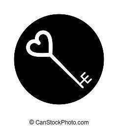cuore, silhouette, chiave, modellato