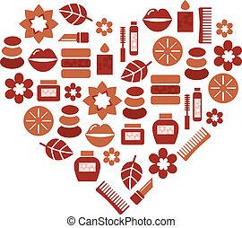 cuore, silhouette, icone, wellness, forma astratta
