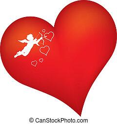 cuore, silhouette, rosso, cupido