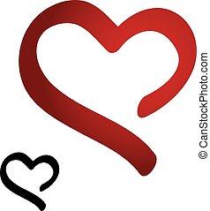 cuore, silhouette, simbolo, -, mano, vettore, nero, disegno,...