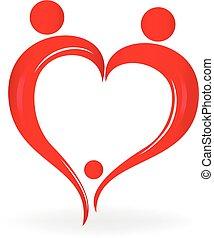 cuore, simbolo, amore, famiglia, logotipo
