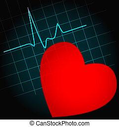 cuore, simbolo, con, battito cardiaco