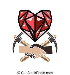 cuore, simbolo, diamante