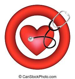 cuore, simbolo, stetoscopio, icona