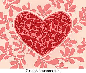 cuore, simbolo, vettore, swirls.