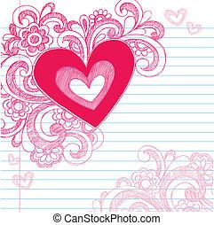 cuore, sketchy, amore, giorno, valentine