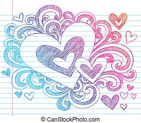 cuore, sketchy, giorno valentines, scarabocchiare