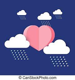 cuore, sole, con, pioggia, cloud.