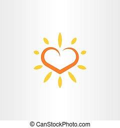 cuore, sole, vettore, logotipo, icona, elemento