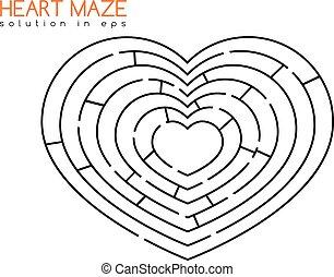 cuore, soluzione, labirinto