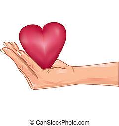 cuore, sopra, isolato, titolo portafoglio mano, bianco rosso