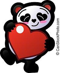 cuore, sorridente, panda, presa a terra