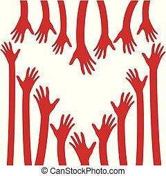 cuore, speranza, amore, logo., hands., cura
