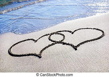 cuore, spiaggia sabbia, contorno, onda