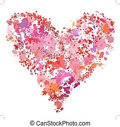 cuore, splatter, astratto, vernice, forma, spruzzi incollaggi, pittura