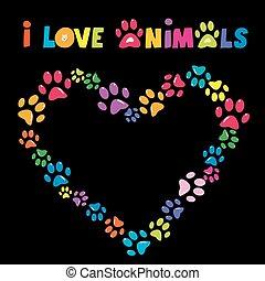 cuore, stampe, animali, colorito, zampa, cornice, amore, scheda