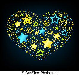 cuore, stella, cartone animato, colorato