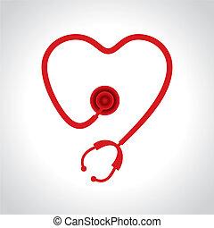 cuore, stetoscopio, forma, fare